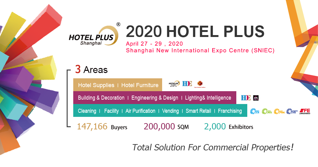 Hotel Plus (Hotelex Shanghai Phase II) held in Shanghai at the end of April every year, focuses on products, service and solutions from building & decoration, engineering & design, to furniture & lighting, space & furnishing, and retail and franchise chain for various commercial spaces like hotel,restaurant and complex. HOTELEX Shanghai Phase I combined catering equipment, high-end food and beverage together to form a global hotel gala (400,000 m2) that attracted 4,000 exhibitors and 200,000 buy